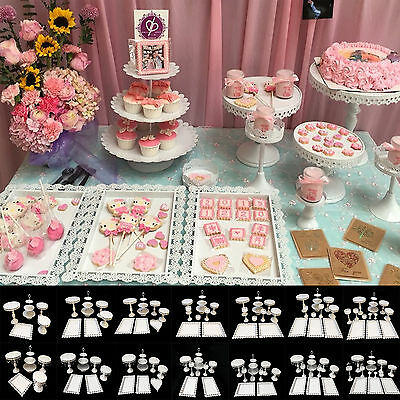12pcs Round/Rectangle/Heart White Metal Stand Party Wedding Cupcake Holder