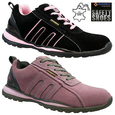 Ladies Leather Steel Toe Cap Safety Work Womens Trainers Shoes Boots Size Uk 3-9