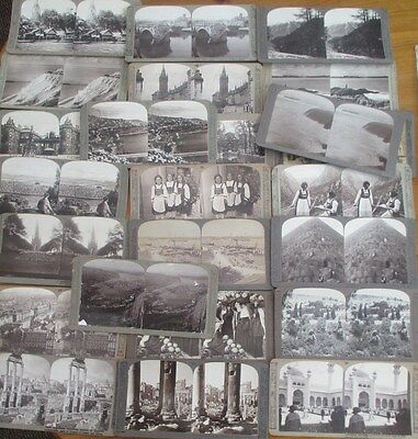 JOB LOT OF 24 ANTIQUE STEREOVIEWS CARDS C1890s Good selection