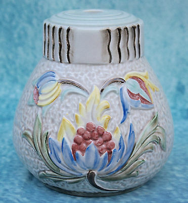 Vintage H.J.Wood Pottery Retro Lamp Light Base Raised Floral Pattern 880