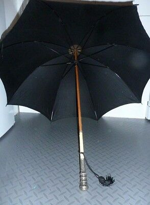 Wonderful Antique Victorian Mourning Parasol Silver Plated & Carved Handle c1890