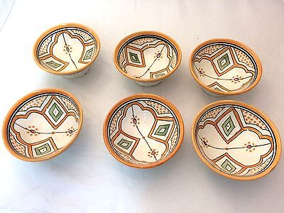 Set of 6 Moroccan nibbles, nuts, olives bowls. Orange patterned ethnic bowl x 6