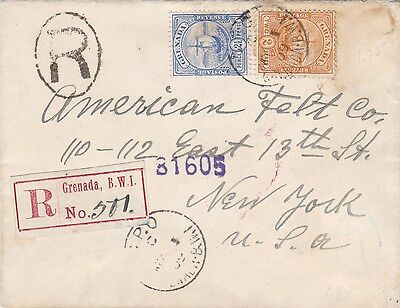 Grenada Home Hotel 1909 Registered Advertising Cover to US With Arrival
