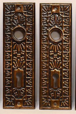 5 Matching Unusual Pattern Antique Victorian Eastlake Door Knob Back Plates