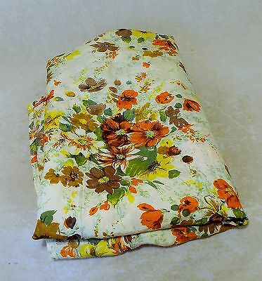 WONDERFUL  FRENCH VINTAGE 1940s FLORAL PRINTED RAYON FABRIC OR TABLECLOTH