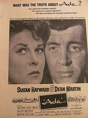 Ada, Dean Martin, Susan Hayward, Full Page Vintage Promotional Ad