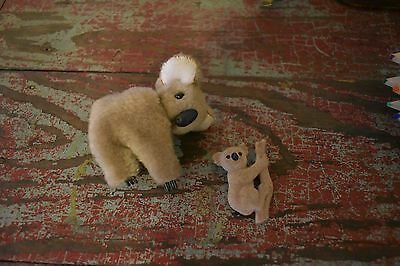 Vintage 80s Koala Bear Clip Plush Pencil Hugger & Felted Pin Brooch