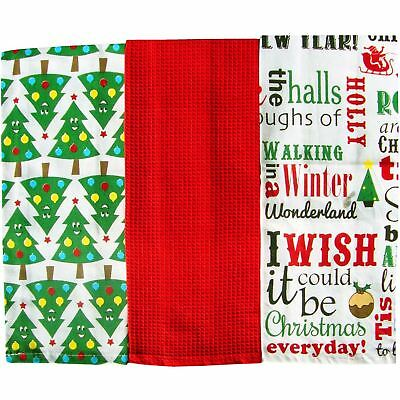 Home Edition 3 Pack Christmas  Tea Towels 100% cotton (Red Christmas Trees)