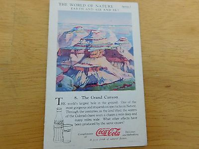 1930 Coca-Cola The World of Nature #8 The Grand Canyon  Card Series 1