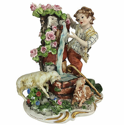 Capodimonte Figural Group - Boy at Fountain with Dog, Sheep, Dove - signed Ester