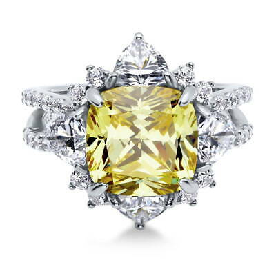 BERRICLE Sterling Silver Cushion Yellow CZ Halo Flower Cocktail Split Shank Ring