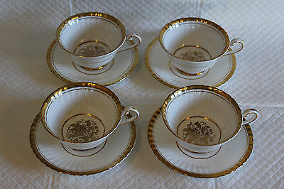 Set of 4 Paragon Z1004 1st Quality White Gilded Footed Tea Cups & Saucers
