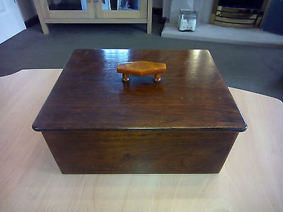 Antique Lovely Chunky Wooden Box With Lid Dove tail Joints Keep Sake Storage Box