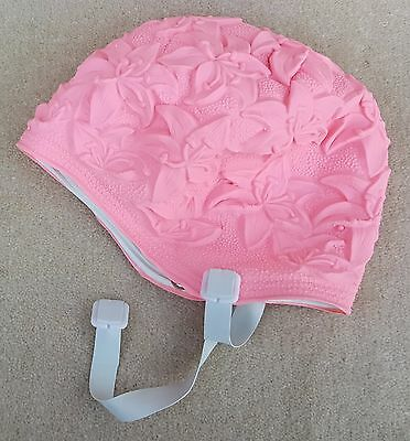 BLUE REEF Swimming Hat Soft Pliable Ladies Latex Lily Pastel Pink Strap
