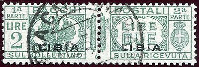 1927/39 - Libya - 2L Green Parcel Post Pair, Used