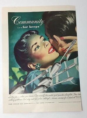 Original Print Ad 1946 Community Silverplate This Is For Keeps Jon Whitcomb Advertising