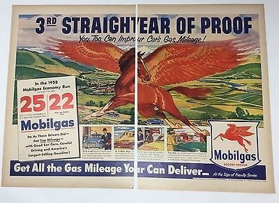 Advertising Advertising-print Original Print Ad 1950 Mobilgas Pegasus Stretch Your Mileage Flying Horse Art