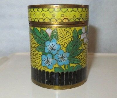 Antique Chinese Cloisonne Yellow Enamel Brass Round Tea Caddy 3.25""