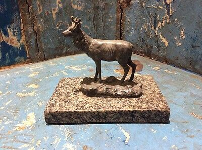 Antique Art Dec Wmf Chamois. Bronze On Marble Base. Signed.