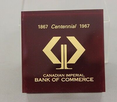 Vintage 1867-1967 Canadian Imperial Bank of Commerce Paperweight Lucite CIBC