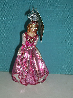 Princess Belle Beauty and Beast Glass Ornament by Old World Christmas 10179 NEW