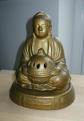 ANTIQUE 1930s JAPANESE GILT BRONZED POTTERY BUDDHA INSENSE BURNER & STAND