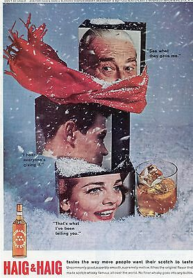 1962 Haig & Haig scotch whisky winter holidays ice vintage print ad