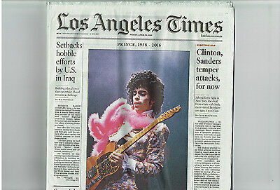 2016 April 22, Los Angeles Times Newspaper-PRINCE, The Artist, Dead, Death