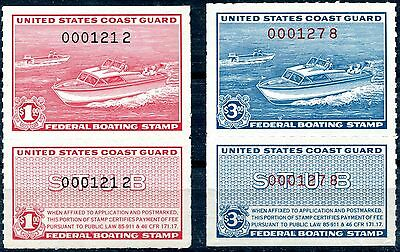 1960 - U.s.a. - $1 And $3 Boating Stamps Complete, Umm