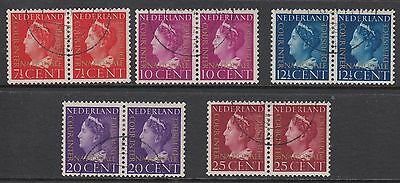 NETHERLANDS 1947 COURT OF JUSTICE, Set of 5 in pairs, USED