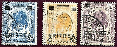1922 - ERITREA - 25c, 50c AND 1L OVERPRINTED, USED