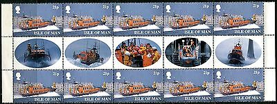 1999 - Isle Of Man - Lifeboat Gutter Pairs Set Of 5 X 5 With Gutter Photos, Umm
