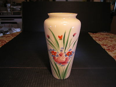 """Old 8.5"""" Tall Yellow Custard Glass Vase With hand Painted Floral Decorations"""