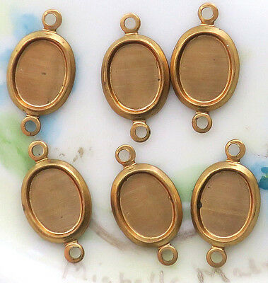 Vintage Settings Connectors Antique Brass Oval 5x7mm Cabochon two loops NOS #439