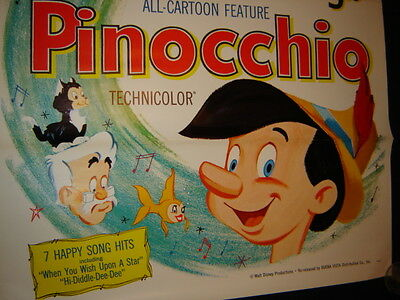 Vintage Original Disney Movie Poster: Pinocchio - 1962 - One Sheet