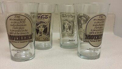 Set of Four Mothers Pizza Coca-Cola Flared Glasses