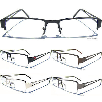Half Frame Clear Lens Glasses Khan Fashion New Eyeglasses Slim Metal