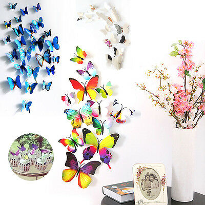 Hot 12/18pcs 3D PVC Butterfly Art Wall Sticker Home Party Kid Room Decoration J