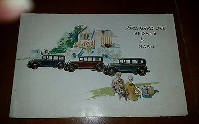 1928 Nash Standard Six Sedans Brochure Full Color Fold Out Brochure