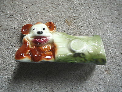 """AMERICAN BISQUE Vintage ART POTTERY BEAR IN HOLLOW LOG PLANTER - 7.25"""" LONG VG"""