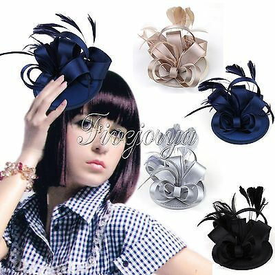 Vintage Satin Fascinator Feather Clip Hat Lady Girl Party Wedding Races Decor