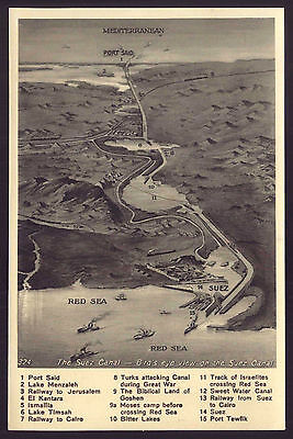 Bird's Eye View CANAL SUEZ MAP. Old postcard EGYPT Port Said to Red Sea