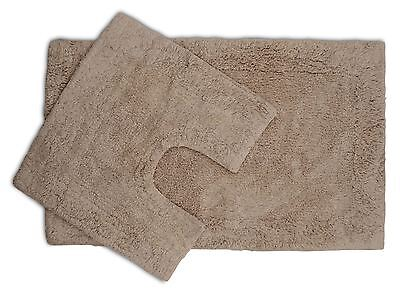 2 Piece Latte Bath Mat and Pedestal Set with Non Slip Back 100% Cotton Pile
