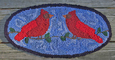 PAIR OF CARDINALS Oval Primitive Rug Hooking KIT or PATTERN on monks cloth,linen
