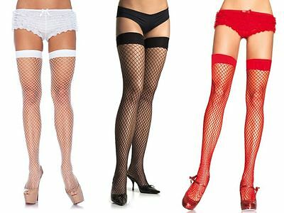 Lady Women Lace Stay Up Thigh High Hold-ups Stockings fishnet Uk