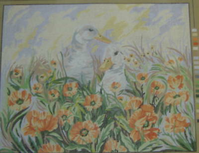 "Ducks In Poppy Field Tapestry/Needlepoint Canvas - 18.5"" x 14.5"""