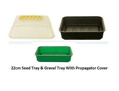 Whitefurze - 22cm Small Garden Gravel Tray & Seed Tray With Propagator Cover Lid
