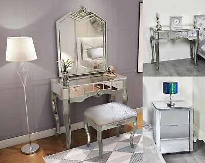 Mirrored Console Dressing Table Silver Mirror Shabby Chic French Furniture