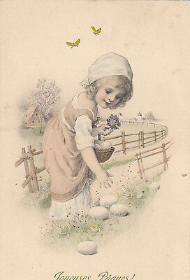 MM VIENNE ART NOUVEAU    GIRL PICKING UP EGGS   pu 1911   EASTER