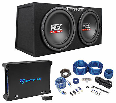"MTX Terminator TNE212D 1200 Watt Dual 12"" Subwoofers+Sealed Sub Box+Amp+Wire Kit"